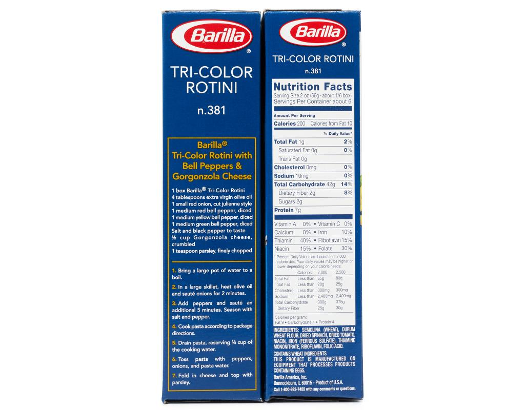 Tri Color Rotini 28 Images Calories In Barilla Pasta Nutrition Muller S