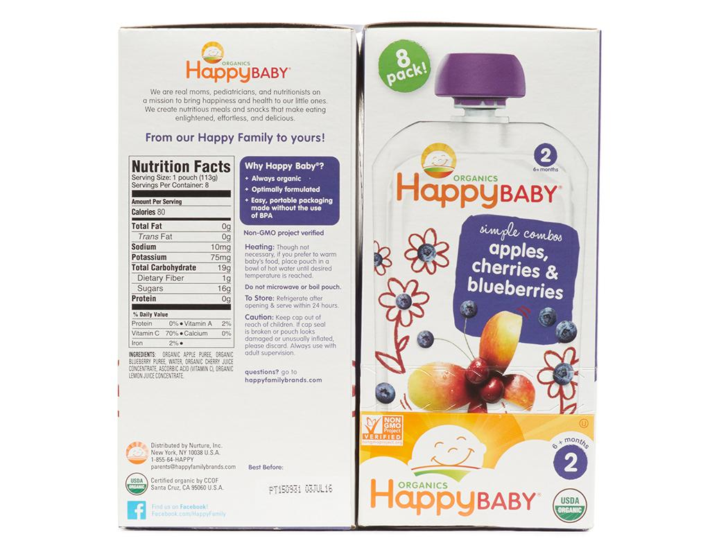 happy baby organic baby food 16 pouches apple cherry. Black Bedroom Furniture Sets. Home Design Ideas