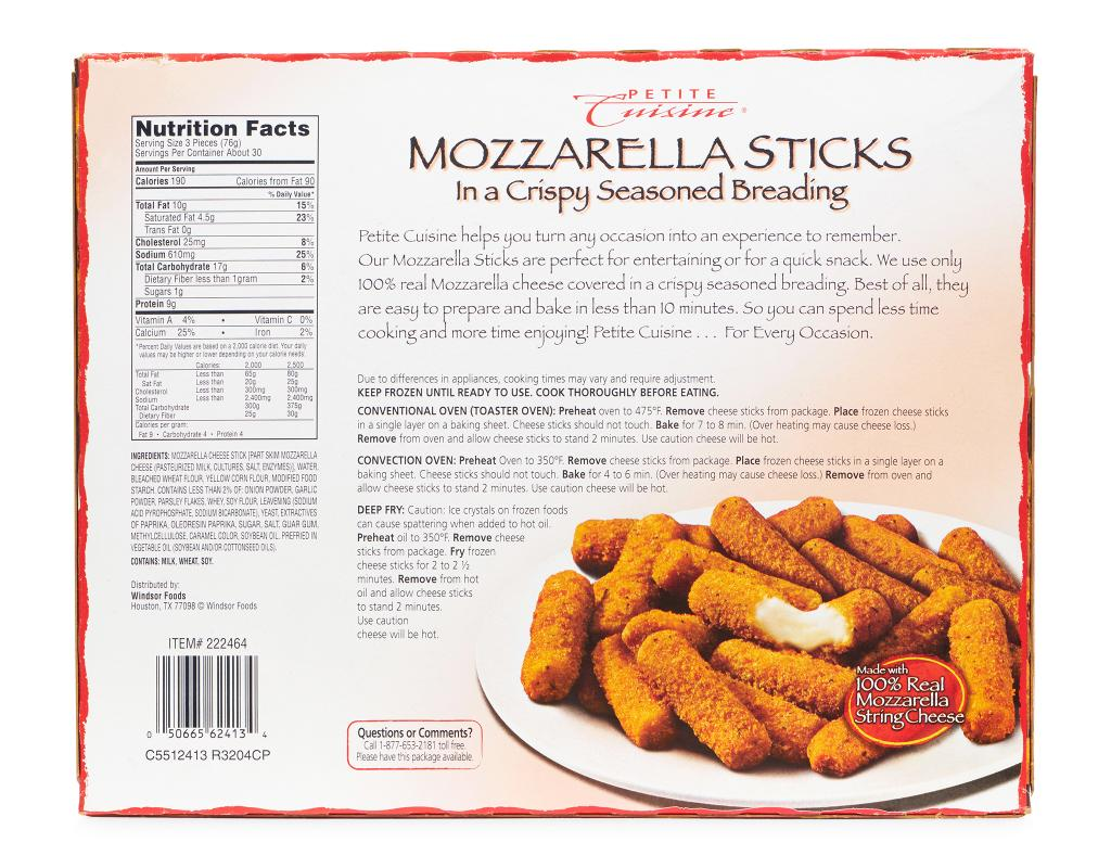 petite cuisine mozzarella sticks 5 lbs. Black Bedroom Furniture Sets. Home Design Ideas