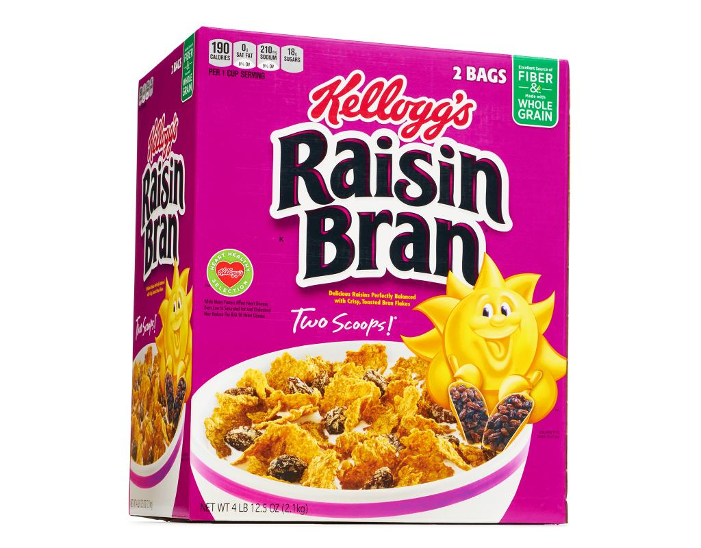 Raisin bran (sultana bran in some countries) is a breakfast cereal manufactured by several companies under a variety of brand names, including Kellogg's Raisin Bran, General Mills' Total Raisin Bran and Post Cereals' Post Raisin Bran.