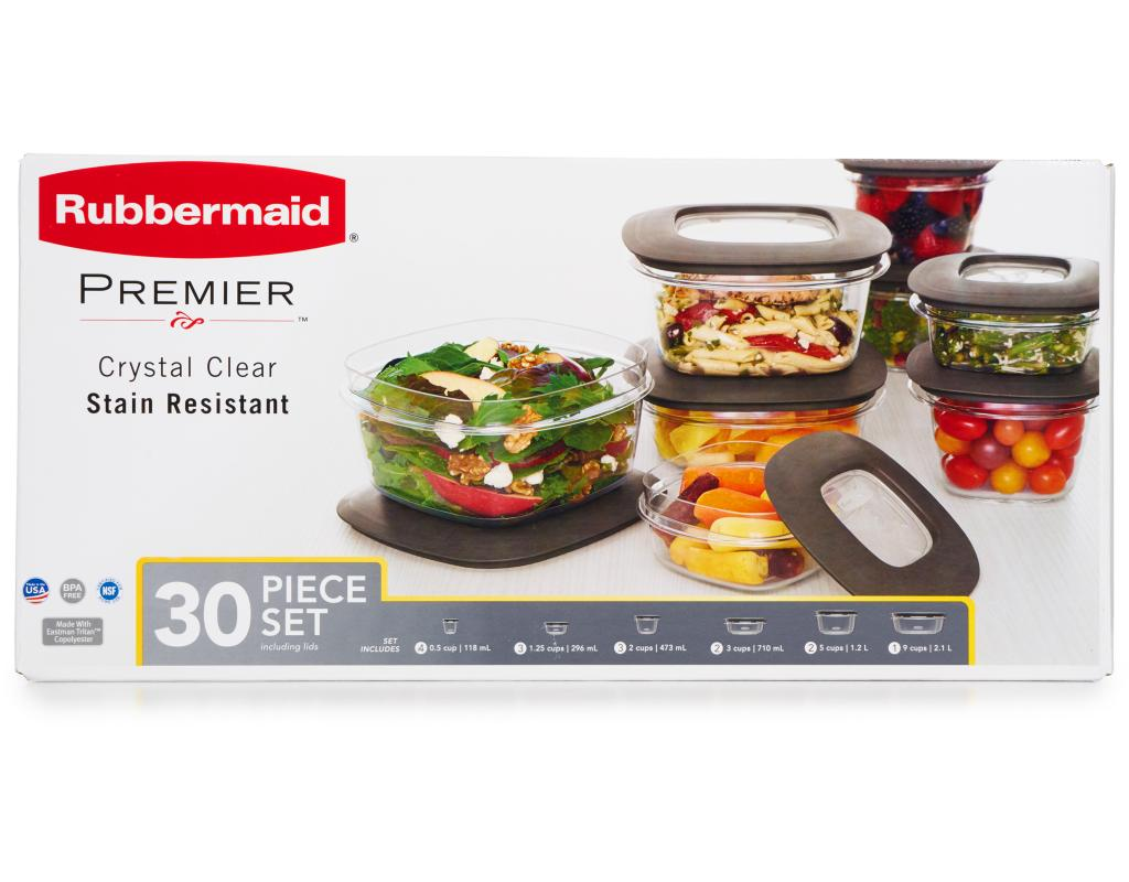 boxed : rubbermaid premier food storage 30 piece set