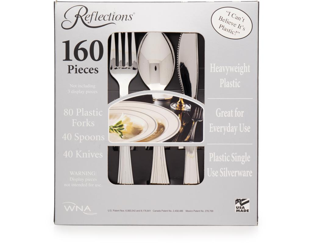 boxedcom reflections silver plastic cutlery 80 forks 40 spoons 40 knives
