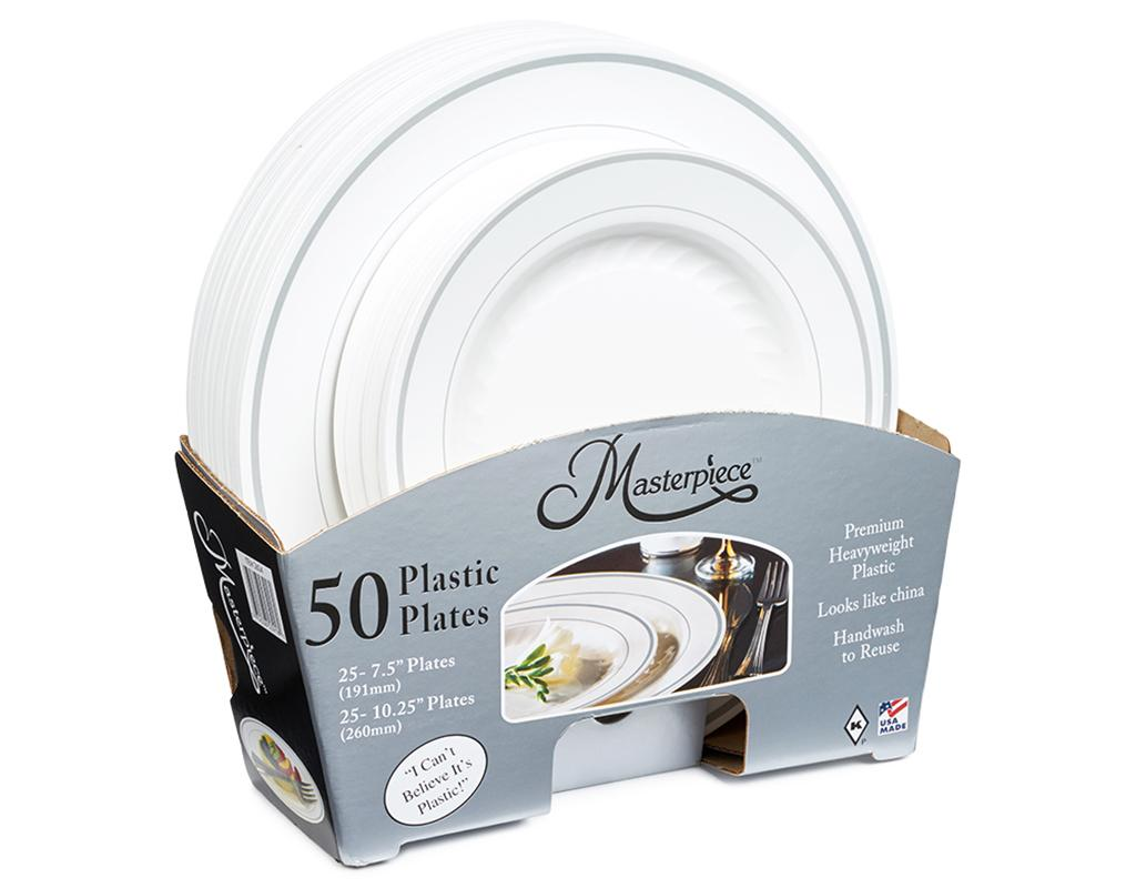 Masterpiece Plastic Plates 50 Count   Boxed