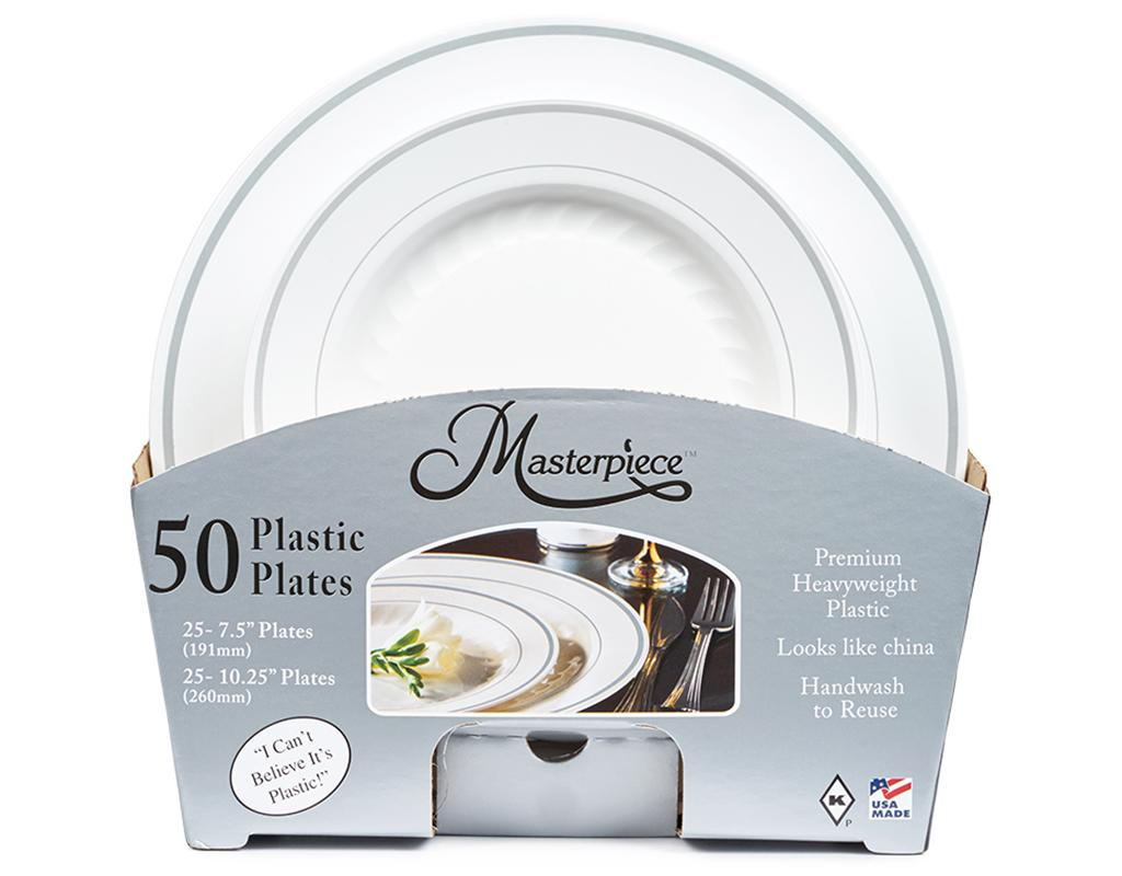 Boxed.com : Masterpiece Plastic Plates 50 Count