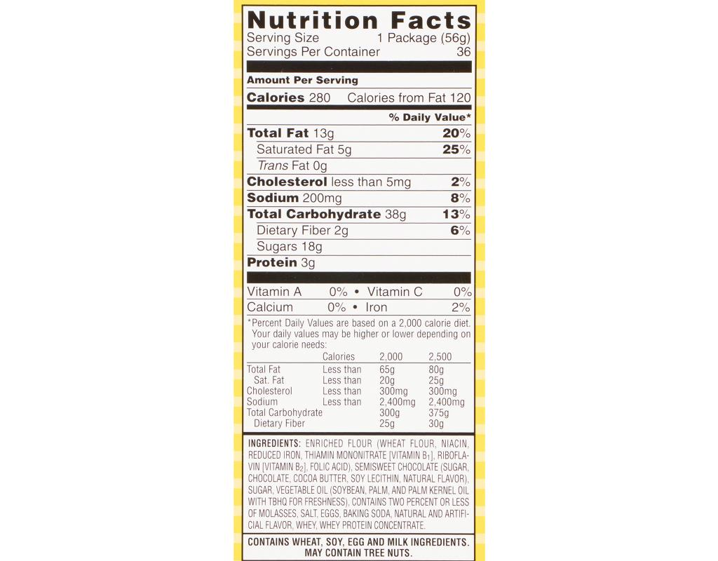 Famous Amos Bite Size Chocolate Chip Cookies Nutrition Facts