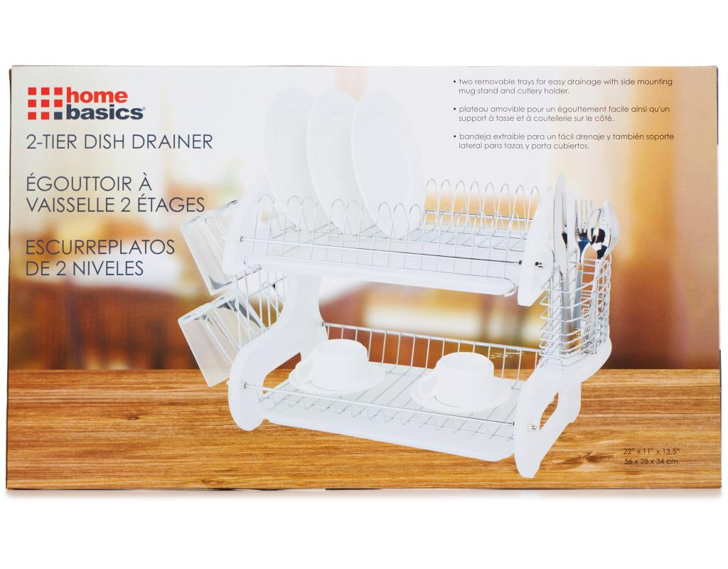 Home Basics 2 Tier Dish Drainer Boxed