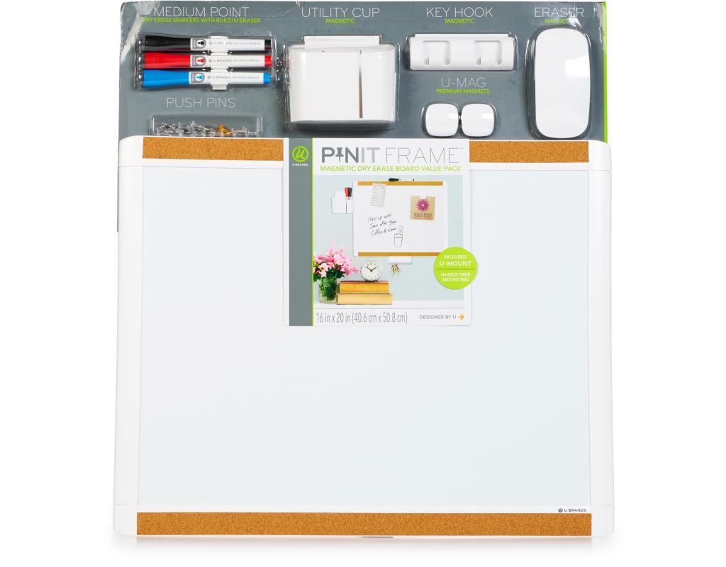 U Brands Pinit Frame Dry Erase Board 16 In. X 20 In.   Value Pack | Boxed