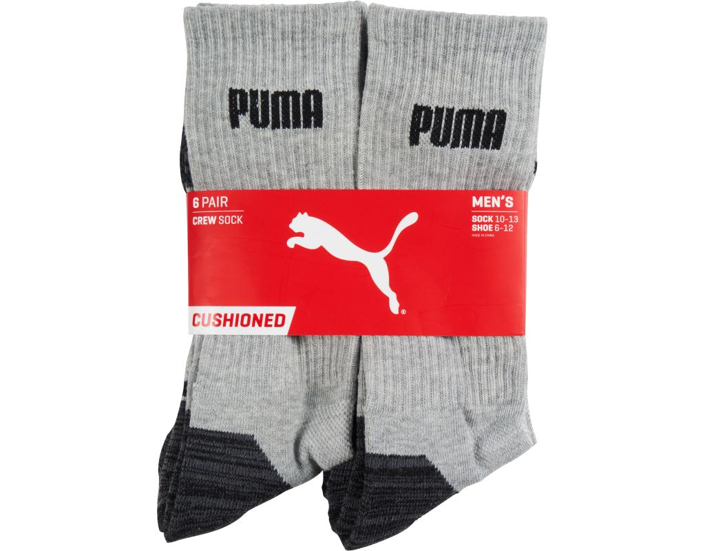 1b37bdc87 Puma Men s Crew Socks 6 Count - Size 10-13 Black + Grey