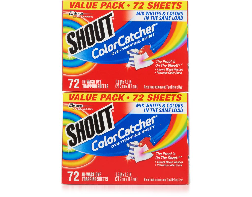 Shout Color Catcher Sheets 2 x 72 Count - Dye Trapping | Boxed
