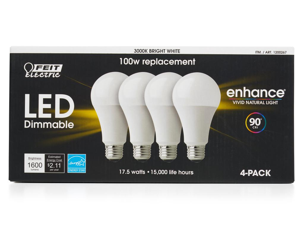 Feit Electric Led Dimmable Light Bulbs 4 Count 175 Watts Bright