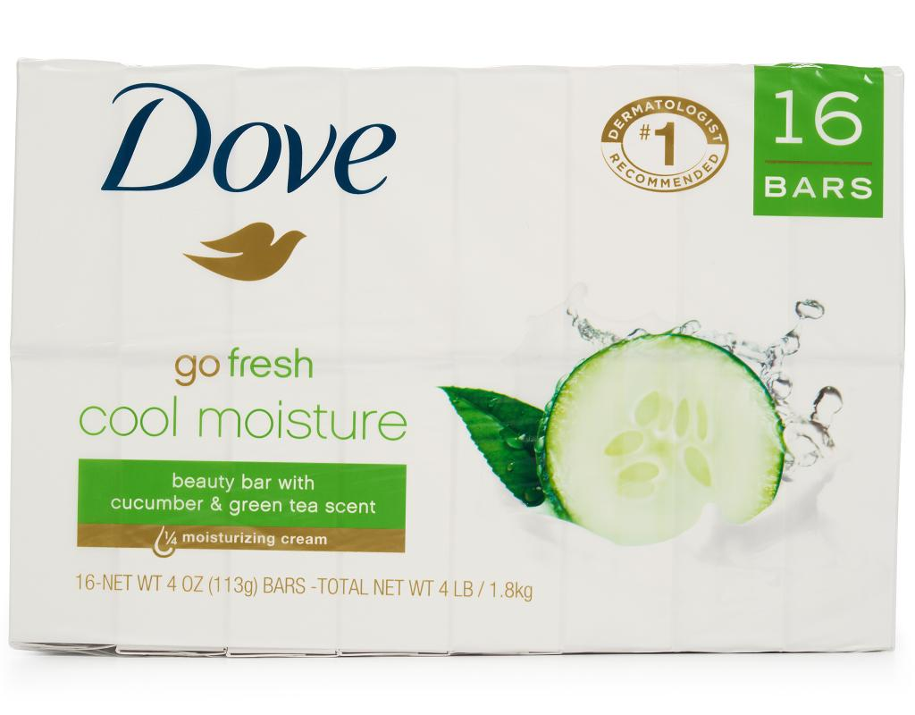 Dove Cool Moisture Beauty Bar 16 X 4 Oz Cucumber Green Tea Boxed Facial Foam 100 Gr