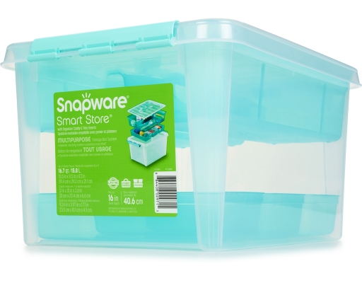 "The Snapware Smart Store Storage Container is a stylish yet simple and basic storage container to meet the needs of everyday storage, from food storage to storing small household items. Featuring snap-lock latches, customizable labels and a stackable design, the Snapware Smart Storage Container really is ""smart."