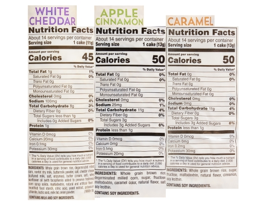 Quaker Rice Cakes 6 Count - Variety Pack | Boxed Quaker Rice Cakes Nutrition Facts